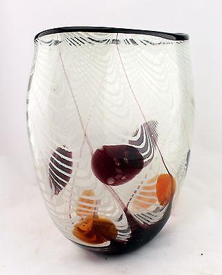 13 Hand Blown Glass Art Vase Bowl White Black Red Striped Decorative Ebay