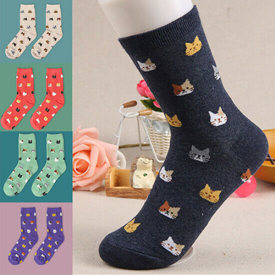 Women's Stylish Cute Cat Cartoon Animal Pattern Comfortable Cotton Ankle Socks Clothing, Shoes & Accessories