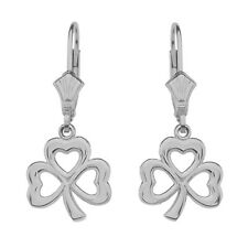 14K White Gold Polished Lucky Shamrock Drop / Dangle Leverback Earrings