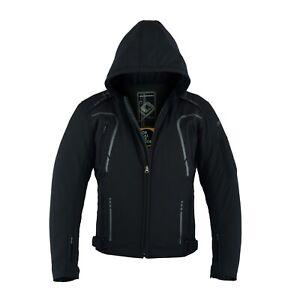uomo nera moto Textile Protezioni Giacca Softshell Short da moto Jacket wOEqESWa