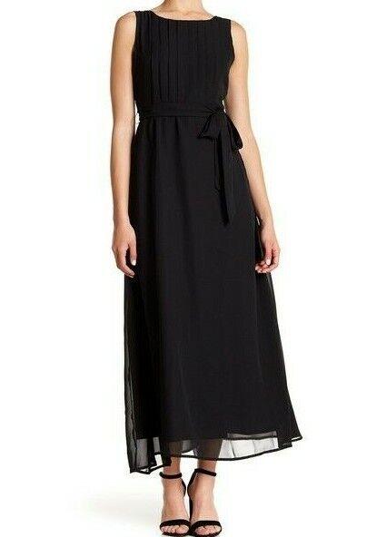 Sharagano Cocktail  schwarz Sleeveless Pleated Maxi Dress (Petite), Größe 6P