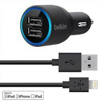 Belkin 2-port Car Charger With Lightning To Usb Cable (black)
