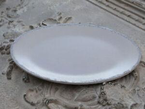 CHIC-ANTIQUE-Tablett-Kerzenteller-Altrosa-oval-Shabby-Vintage-Glitterkante-28cm