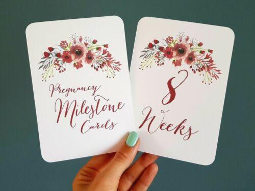 Pregnancy Milestone cards photo prop pregnancy gift scrapbook 8 week due date
