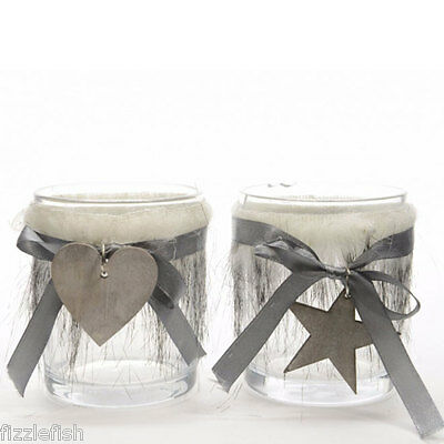 Christmas Tea Light Candle Holder with Fur /& Wooden Hanging Star Heart Xmas