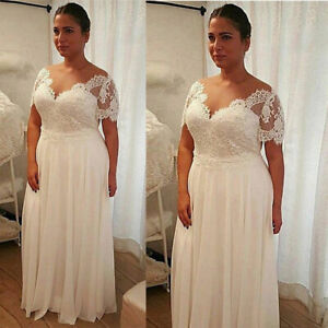 Plus Size Short Sleeves Wedding Dresses V Neck Chiffon Lace Simple Bridal Gown Ebay