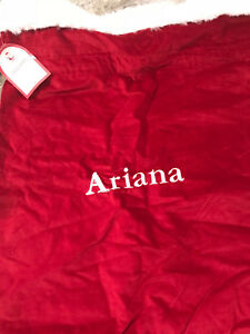 Pottery-Barn-Kids-Red-Fleece-Small-Santa-Bag-Mono-034-Ariana-034