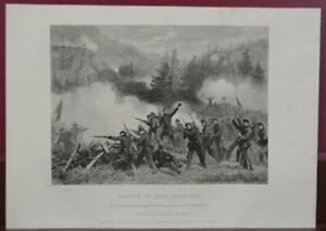 Antique US Civil War Battle of Rich Mountain Engraving Printed 1863 Original