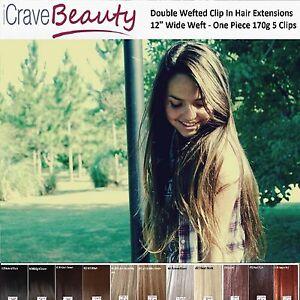 Pince-En-Extensions-De-Cheveux-Double-Trame-De-luxe-170g-034-24-Long-5-Pinces-Lisse