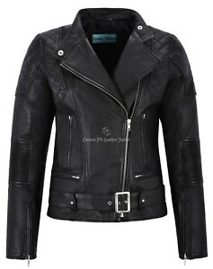 Women-Leather-Jacket-Black-Napa-Quilted-Shoulder-Biker-Motorcycle-Style-Charlie