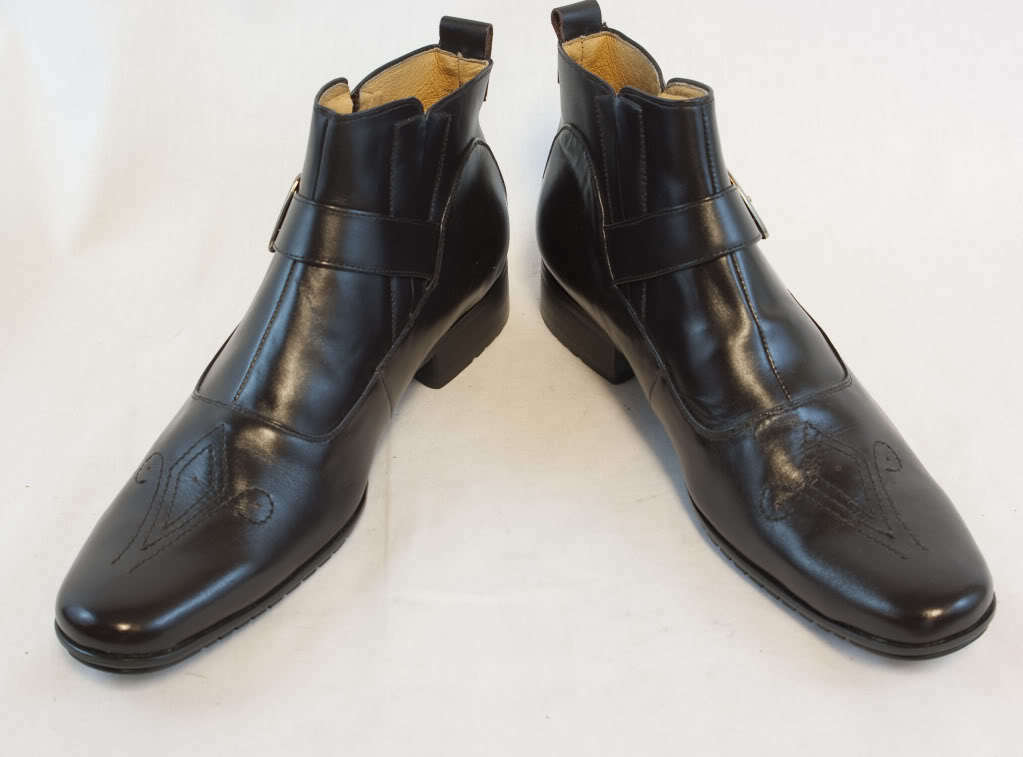 New Men's Juliani Dark Brown Leather Fashion Dress Boots w/ Buckle & Embroidery
