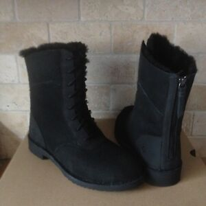 97ea0659705 Details about UGG Daney Black Suede Sheepskin Cuff Lace up Zip Short Boots  Size US 8.5 Womens