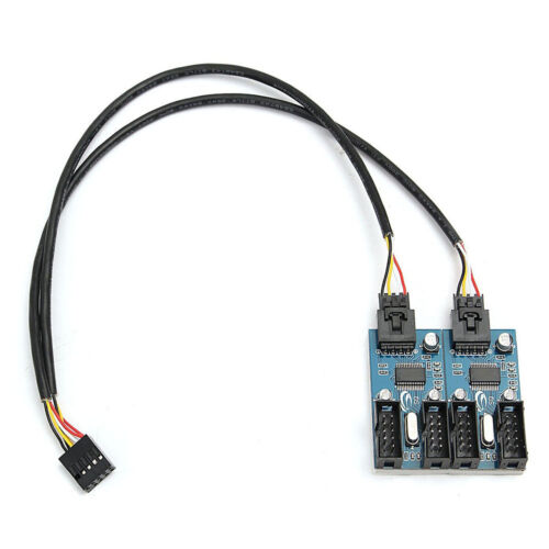 USB 2.0 9Pin Header Male to 2.0 2X9 Pin Female Extension Splitter Adapter Cable