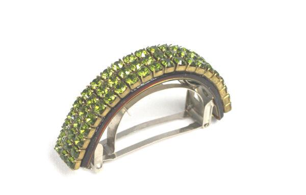 - Per Capelli/treccia Fermaglio Made In France Semicircolare Colore Oro Con Strass Verde Occupato