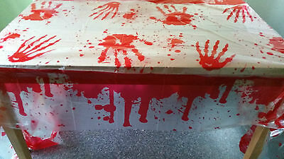 """Bloody,Blood Stained Table Cover  54"""" x 108"""" Halloween Party Decoration"""