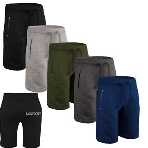 MEN-039-S-SHORTS-GYM-JOGGERS-RUNNING-ZIP-POCKETS-ELASTICATED-JOGGING-SHORTS-COTTON