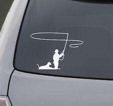 Fly Fishing Decal Car Truck Bumper Window Sticker Dog country cowboy hunting