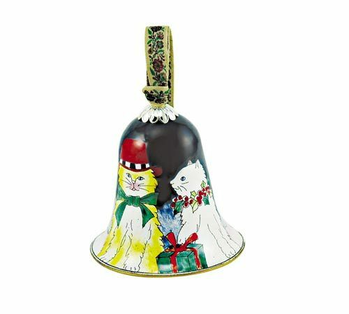 Cats Kitty KELVIN CHEN Enamel Copper Hand painted Christmas Ornament hang Bell