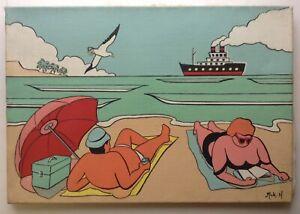 Schoen-Gemaelde-Pop-Art-034-Urlaub-Am-Strand-034-Acryl-auf-Leinwand-Unterzeichnet