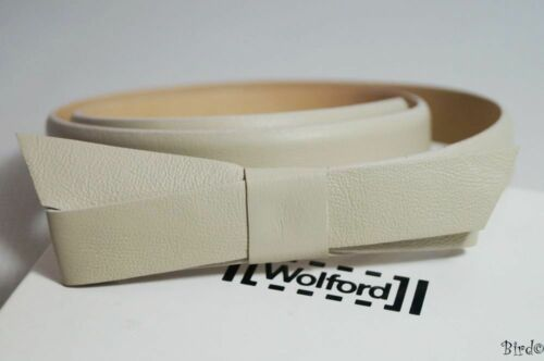 WOLFORD WHEAT CREAM LEATHER SLIM RIBBON BELT SIZE 80cm RRP £130!! NEW!!
