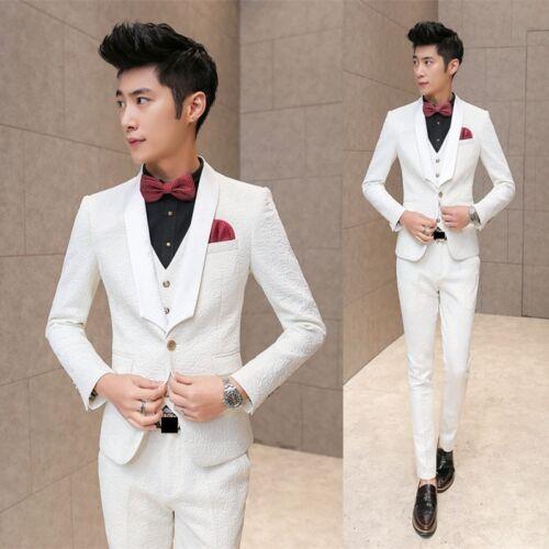 Men/'s Elegant Floral Embossed Slim Fit Party Dinner Suit Jacket Vest Pants White