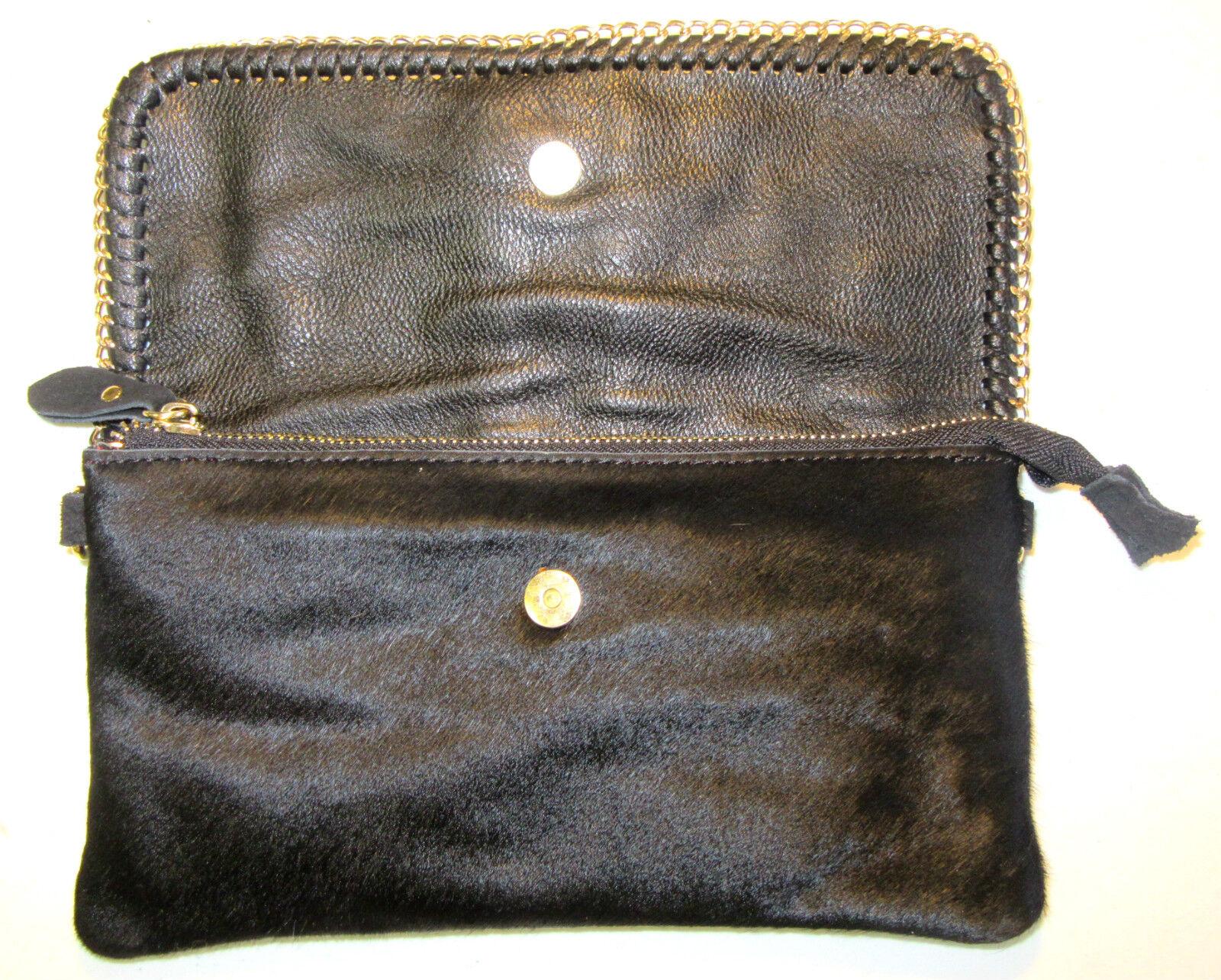 8a6208b3ca89 Sondra Roberts Black Leather Calf-hair Clutch Wristlet Bag W/ Gold Chain  for sale online | eBay