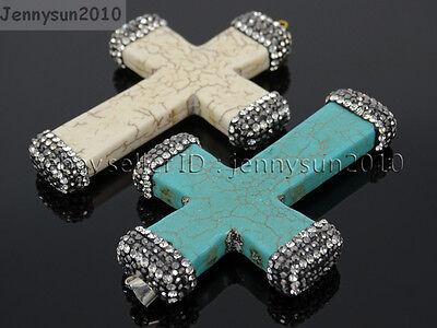Howlite Turquoise Czech Crystal Rhinestones Cross Pendant Charm Beads White Blue