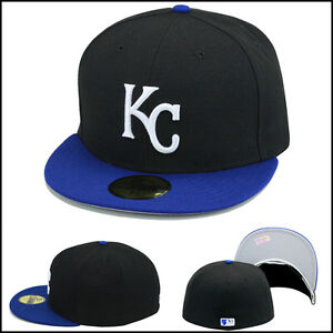 new product 4e790 cd124 New Era Kansas City KC Royals Fitted Hat Cap Black Royal White