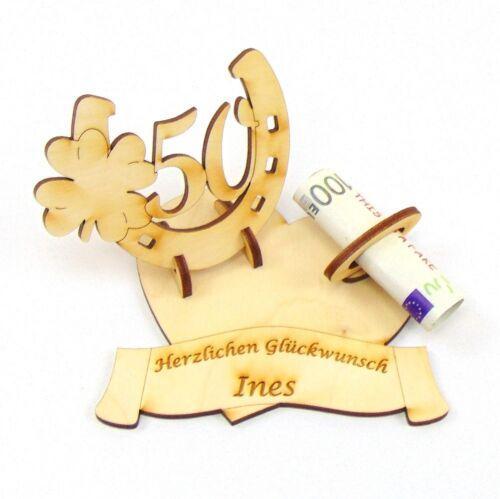 Geldgeschenk Geburtstags Zahl 50 Holz Hufeisen mit Kleeblatt mit Namensgravur
