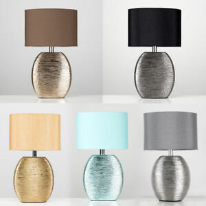 Modern-Textured-Ceramic-Table-Bedside-Desk-Lamp-Cotton-Shade-Lampshade-Lighting