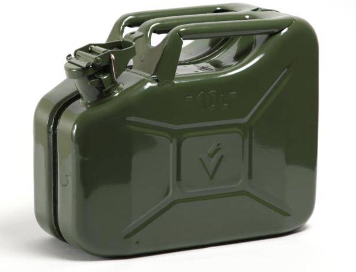 10L litres vert Jerry militaire Boîte CARBURANT Huile DIESEL Eau ESSENCE DIESEL Huile 6be623