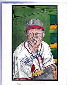 STAN-MUSIAL-ART-PRINT-SIGNED-8X10-ST-LOUIS-CARDINALS-HALL-OF-FAMER-BEAUTIFUL