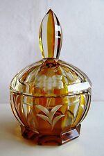 KARL PALDA Czech/ Bohemian HAND CUT GLASS POWDER/ JEWELRY/ TRINKET BOX ART DECO