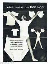 PUBLICITE ADVERTISING 086  1958  slip  homme sous vetements  enfant Ban-Lon