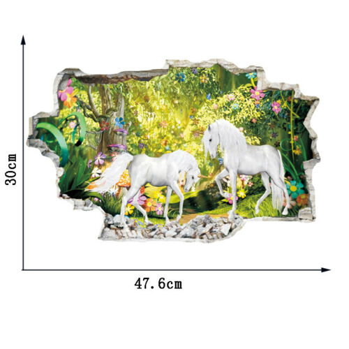 Beautiful Art Unicorn 3D Effect Animal Wall Stickers Home Girls Kids Room Decals