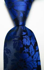 New-Classic-Floral-Black-Dark-Blue-JACQUARD-WOVEN-Silk-Men-039-s-Tie-Necktie