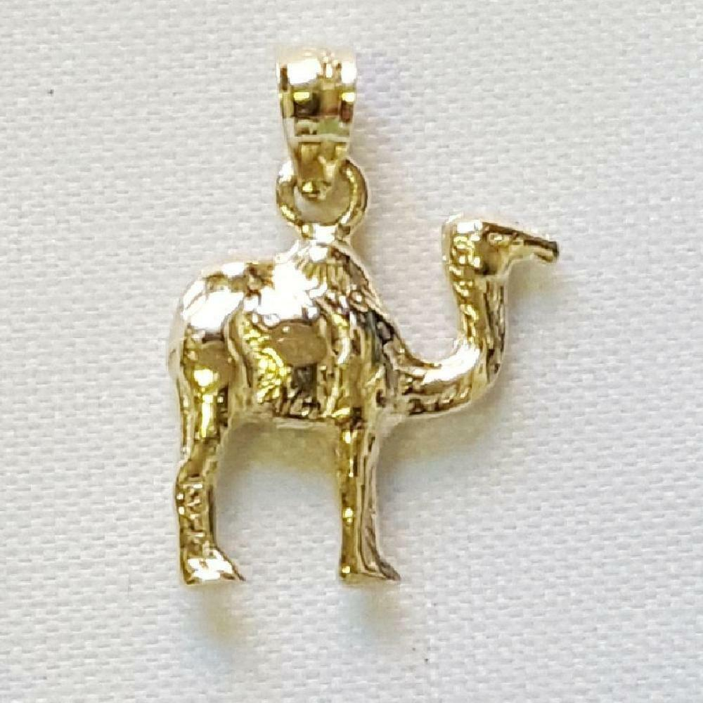 14k Yellow gold CAMEL 3D Solid Pendant   Charm, Made in USA