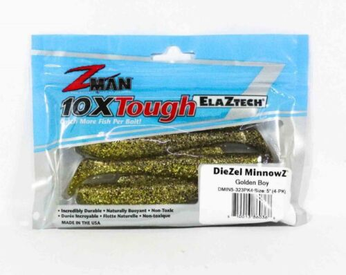 Zman Soft Lure Diezel MinnowZ 5 Inch 4 per pack Golden Boy 0368