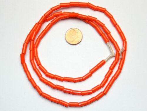 Strang 70 cm böhmische Glasperlen Stift Röhren Bugle orange opak 4 mm