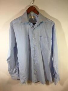 Joseph-Abboud-Blue-White-Striped-Buttondown-Dress-Shirt-Size-15-34-35