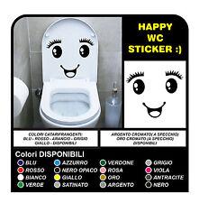 wall sticker adesivo wc sanitari bagno volto faccia occhi water toilette sorriso