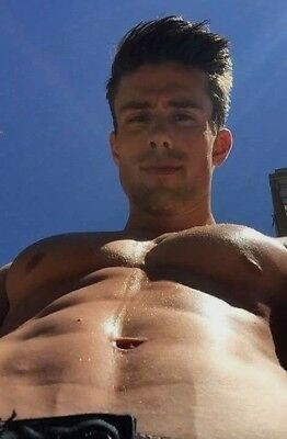 Shirtless Muscular Male Beefcake Jock Pierced Nipples Chest Hunk PHOTO 4X6 D502