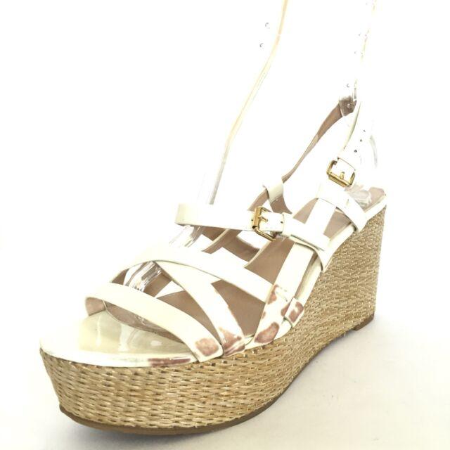 a70c8cb945b VIA SPIGA TANDY Women s White Strappy Espadrille Wedge Sandals Size 9.5 M
