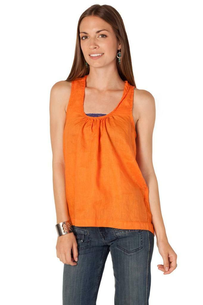CP Shades Luz Backless Tank Tangelo Orange Sleeveles Top Shirt Linen Tie Handmad