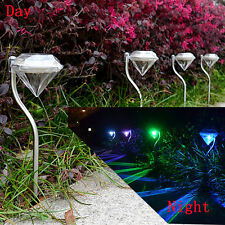 4Pcs Multi-color LED Crystal Solar Power Yard Path Garden Lawn Landscape Lamp