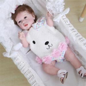 "22"" Cute Lifelike Handmade Full Body Silicone Reborn Babies Girl Doll Toy"