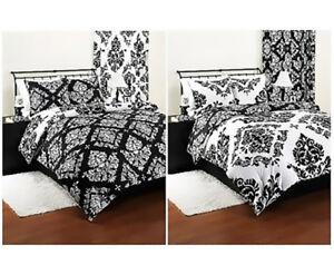 Details About Bedding Comforter Reversible Damask Set Modern Black White Sham Beautiful Twin