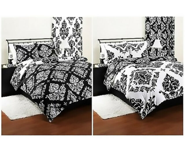 Bedding Comforter Reversible Damask Set Modern Black White Sham Beautiful Twin