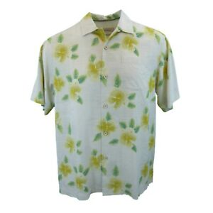 New-Mens-Tommy-Bahama-Etched-in-Time-Short-Sleeve-Hibiscus-Camp-Shirt-Medium
