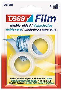 Tesa-57911-00000-Rotolo-Nastro-Biadesivo-Trasparente-Ricambio-2-PEZZI-7-5mx12mm
